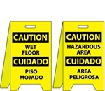 Caution Bilingual Wet Floor/Hazardous Area - Reversible Two Sided Flood Stands