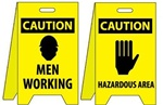 Caution Men Working/Hazardous Area Floor Sign - Reversible Two Sided Flood Stands