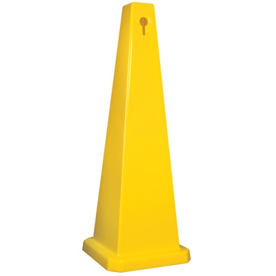 Lamba® 25 Inch 4-Sided Blank Yellow Quad Safety Cone, Protect from slip, trip and falls before accidents happen