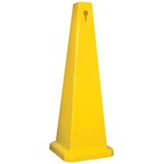 Lamba® 35 Inch 4-Sided Blank Yellow Quad Safety Cone, Protect from slip, trip and falls before accidents happen