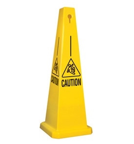 Lamba® 25 Inch 4-Sided Yellow Caution Slipping Symbol Quad Safety Cone, Protect from slip, trip and falls before accidents happen