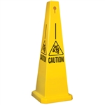 Lamba® 35 Inch 4-Sided Yellow Caution W/Slipping Symbol Quad Safety Cone, Protect from slip, trip and falls before accidents happen