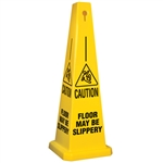 Lamba® 35 Inch 4-Sided Yellow Caution Quad Safety Cone, Protect from slip, trip and falls before accidents happen