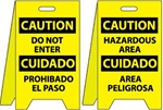 Caution Bilingual Do Not Enter/Hazardous Area - Reversible Two Sided Flood Stands