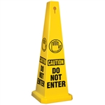 "Lamba® 4-Sided Yellow 35"" Caution Do Not Enter Safety Cone"