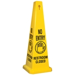 Lamba® 35 Inch 4-Sided Yellow No Entry Symbol Restroom Closed Quad Safety Cone