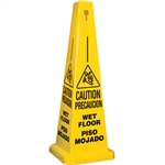 Lamba® 35 Inch 4-Sided Yellow Caution Slipping Symbol Bilingual Wet Floor Quad Safety Cone