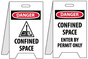Danger Confined Space/Confined Space Enter By Permit Only - Reversible Two Sided Flood Stands