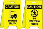 Caution Forklift Traffic / No Pedestrian Traffic - Reversible Two Sided Flood Stands