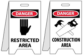 Danger Restricted Area/Construction Area - Reversible Two Sided Flood Stands