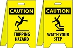 Caution Tripping Hazard/Watch Your Step - Reversible Two Sided Flood Stands