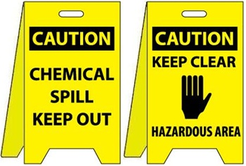 Caution Chemical Spill Keep Out/Keep Clear Hazardous Area - Reversible Two Sided Flood Stands