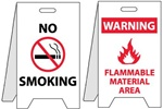No Smoking/Warning Flammable Material Area - Reversible Two Sided Flood Stands