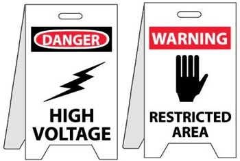 Danger High Voltage/Warning Restricted Area - Reversible Two Sided Flood Stands