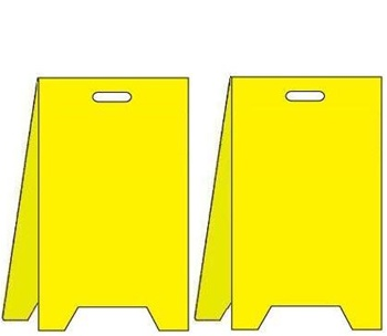 Blank Yellow Floor Stand Sign   Reversible Two Sided Flood Stands