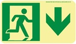 Down Directional Glow Sign - 4-1/2 X 8 - Flexible pressure sensitive polyester or Rigid plastic