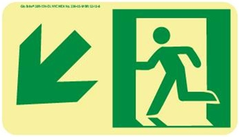 Down and Left Directional Glow Sign - 4-1/2 X 8 - Flexible pressure sensitive polyester or Rigid plastic