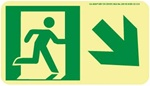 Down and Right Directional Glow Sign - 4-1/2 X 8 - Flexible pressure sensitive polyester or Rigid plastic