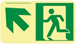 Up and Left Directional Glow Sign - 4-1/2 X 8 - Flexible pressure sensitive polyester or Rigid plastic