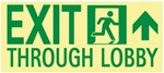 NYC Exit Through Lobby Sign, Forward Right - 7 X 16 - Flexible pressure sensitive polyester or Rigid plastic