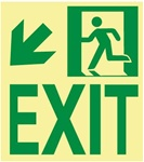 Down and Left Wall Mounted Glow Sign - 9 X 8 - Flexible pressure sensitive polyester or Rigid plastic