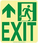Left Wall Mounted Glow EXIT Sign - 9 X 8 - Flexible pressure sensitive polyester or Rigid plastic