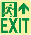 NYC Wall Mount Exit Sign, Forward/Right Side - 9 X 8 - Flexible pressure sensitive polyester or Rigid plastic