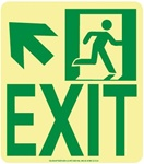 Up and Left Wall Mounted EXIT Glow Sign - 9 X 8 - Flexible pressure sensitive polyester or Rigid plastic