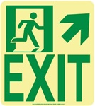 Up and Right Wall Mounted EXIT Glow Sign - 9 X 8 - Flexible pressure sensitive polyester or Rigid plastic