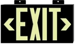Glo Brite Framed EXIT Sign - 7001 Single Sided with Wall Mount, 7001B Single Sided with Bracket and 7002B Double Sided with Bracket S50 visible at 50 feet.