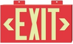 Glo Brite Red Framed EXIT Sign - 7011 Single Sided with Wall Mount, 7011B Single Sided with Bracket and 7012B Double Sided with Bracket S50 visible at 50 feet
