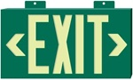 Glo Brite Green Framed EXIT Sign - 7021 Single Sided with Wall Mount, 7021B Single Sided with Bracket and 7022B Double Sided with Bracket S50 visible at 50 feet.