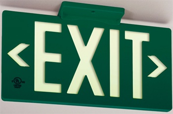 Green Exit PF50 Series, Glo Brite® Eco Exit Sign