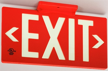 7050 Red Exit PF50 Series Glo Brite® Eco EXIT Sign - 7050B Single Sided or 7052B Double Sided