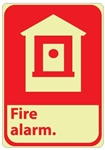 FIRE ALARM - Glow in the Dark Signs - 10 X 7 - Pressure Sensitive Vinyl or Rigid Plastic