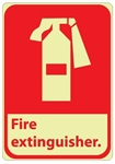Pictorial FIRE EXTINGUISHER Glow in the Dark Signs - 10 X 7 - Pressure Sensitive Vinyl or Rigid Plastic