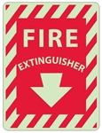 Striped Border - FIRE EXTINGUISHER - Glow in the Dark Signs - 12 X 9 - Pressure Sensitive Vinyl or Rigid Plastic
