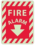 Striped Border - FIRE ALARM - Glow in the Dark Signs - 12 X 9 - Pressure Sensitive Vinyl or Rigid Plastic