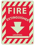 FIRE EXTINGUISHER - LOCATION - Glow in the Dark Signs - 12 X 9 - Pressure Sensitive Vinyl or Rigid Plastic
