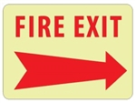 Glow in the Dark FIRE EXIT (arrow right) Sign - 10 X 14 - Pressure Sensitive Vinyl or Rigid Plastic
