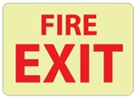 Glow in the Dark FIRE EXIT Sign - 10 X 14 - Pressure Sensitive Vinyl or Rigid Plastic