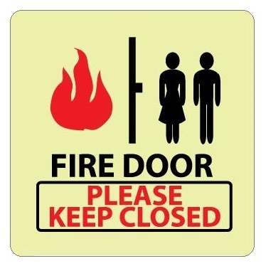 Glow in the Dark FIRE DOOR PLEASE KEEP CLOSED Signs - 7 X 7 - Pressure Sensitive Vinyl or Rigid Plastic