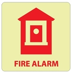 Glow in the Dark FIRE ALARM (Symbol) Sign - 7 X 7 - Pressure Sensitive Vinyl or Rigid Plastic