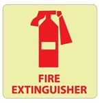 Glow in the Dark FIRE EXTINGUISHER Sign - 7 X 7 - Pressure Sensitive Vinyl  or Rigid Plastic