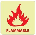 Glow in the Dark FLAMMABLE Sign - 7 X 7 - Pressure Sensitive Vinyl or Rigid Plastic
