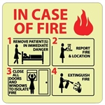 Glow in the Dark IN CASE OF FIRE.... Sign - 7 X 7 - Pressure Sensitive Vinyl or Rigid Plastic