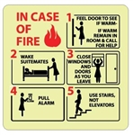 Glow in the Dark IN CASE OF FIRE.... Wake Suite mates Sign - 7 X 7 - Pressure Sensitive Vinyl or Rigid Plastic