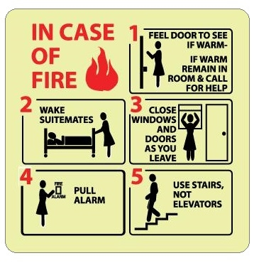 IN CASE OF FIRE EVACUATION INSTRUCTIONS, Glow in the Dark Sign