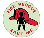 Glow in the Dark, FIRE RESCUE, PEOPLE LOCATOR Window Decals - 4 Inch Diameter - Pressure Sensitive Vinyl