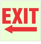 Glow in the Dark EXIT arrow left Sign - 10 X 10 - Pressure Sensitive Vinyl or Rigid Plastic